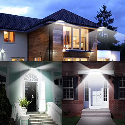 3 images of the Innogear outdoor solar lights being used on a house