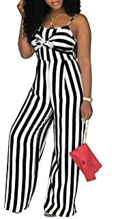 baa17d41d907 shekiss Women s Sexy Spaghetti Strap Striped Wide Leg Long Pants Palazzo  Jumpsuit Rompers Ladies Outfits