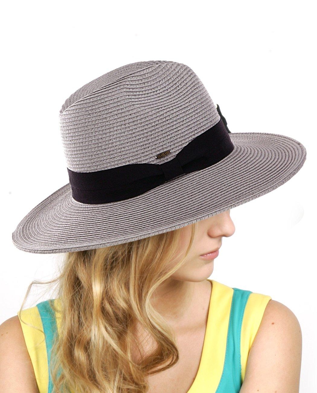 NYFASHION101 Lightweight Solid Color Band Braided Panama Fedora Sun Hat Black ST02-BK