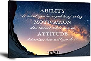 """Inspirational Wall Art Ability is What You're Capable of Doing Quotes Wall Decor Motivation Attitude Saying Posters Print Artwork for Living Room Office Home Classroom Framed Ready to Hang (12""""Hx18""""W)"""