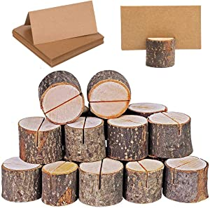 Place Card Holders, 20 Pcs Place Rustic Wooden Card Holders Table Number Stands for Name Tags Food Markers Party Wedding Table Name Card Holder Memo Photo Holder Card and 30 Pcs Kraft