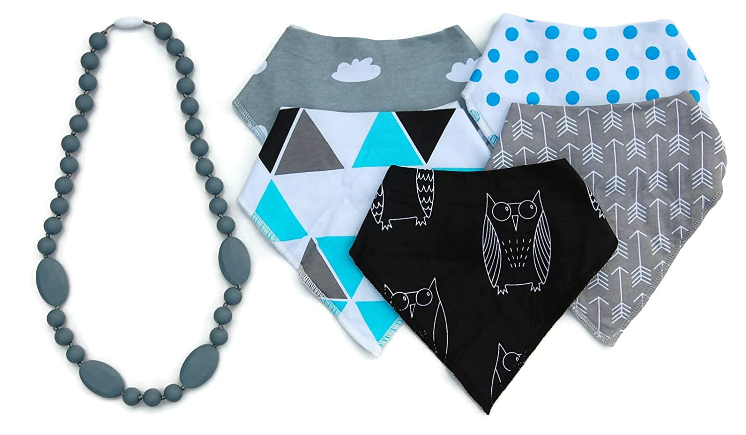 Boys Bandana Bibs & Silicone Teething Necklace Set by The Spunky Baby by The Spunky Baby   B01DTNJJ7O