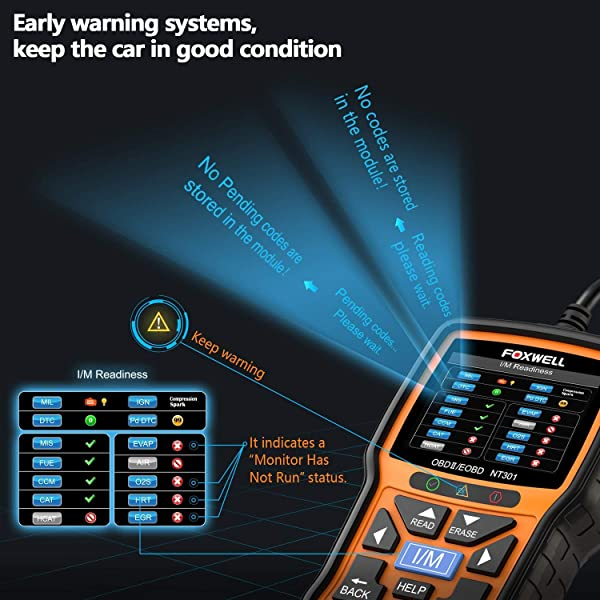 The Foxwell NT301 will read and clear fault codes as well as turn off your check engine light.