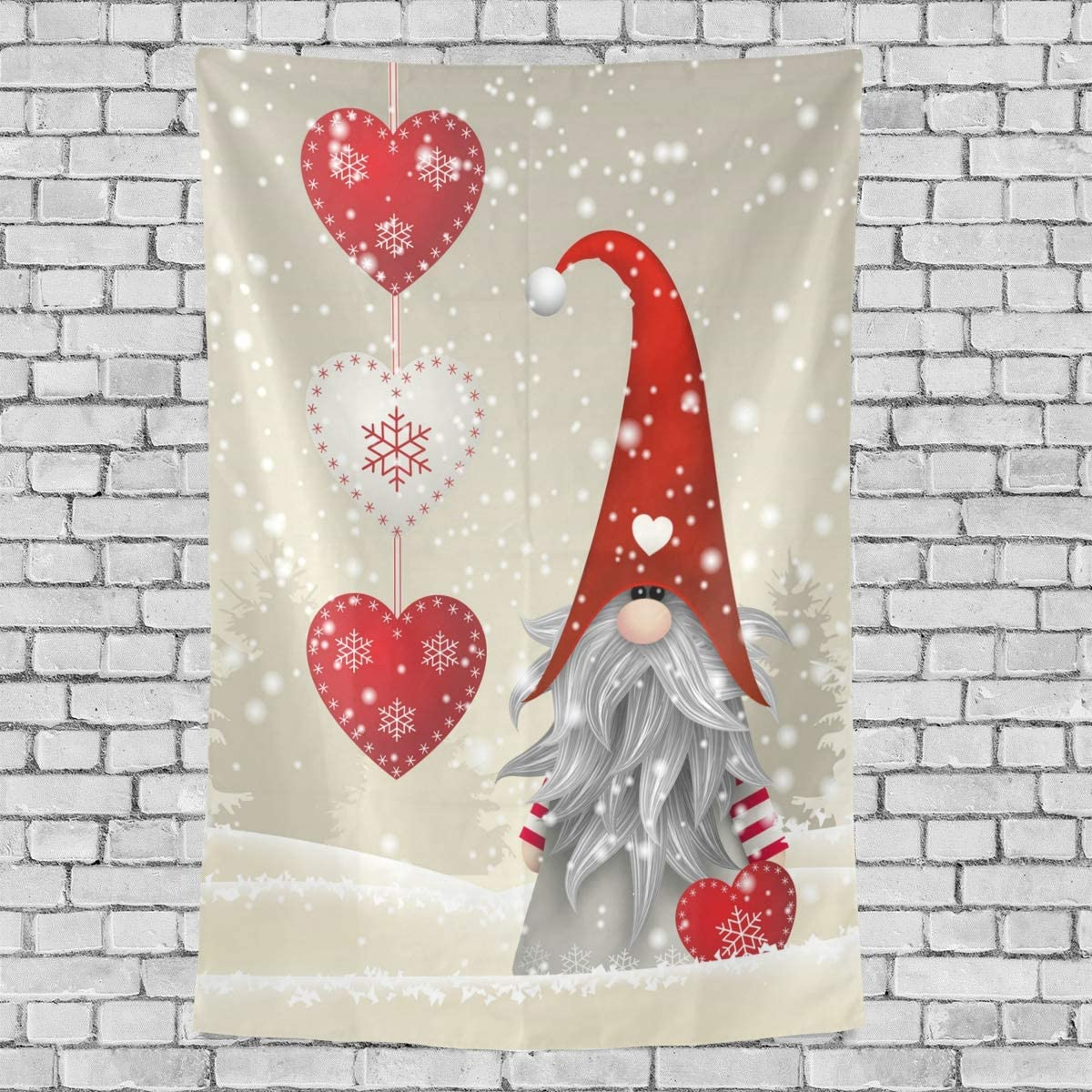 One Bear Christmas Tapestry Winter Traditional Gnome Santa Claus Art Vertical Tapestry Wall Hanging Snowflake Heart Headboard Tapestries Home Decor for Bedroom College 60 X 90 Inch
