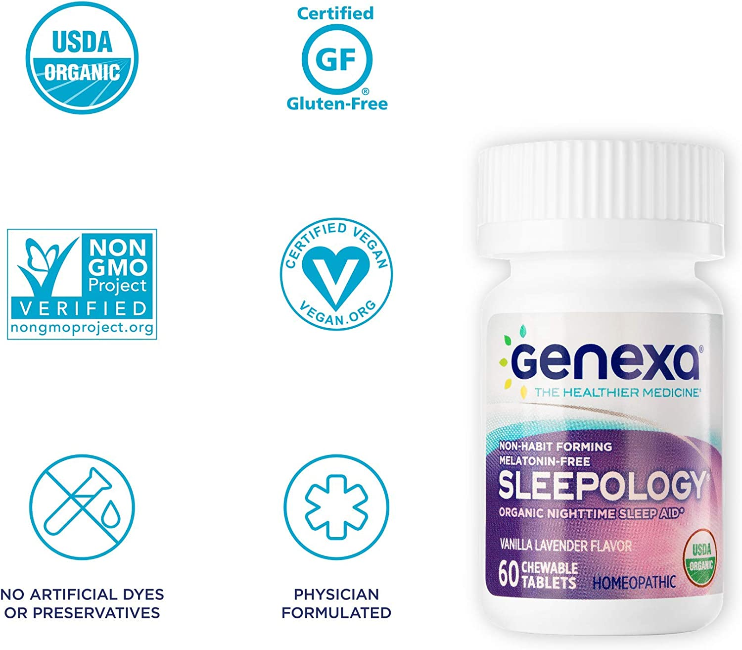 Genexa Sleepology- 180 Tablets | Certified Organic & Non-GMO, Physician Formulated, Homeopathic | Sleep Aid