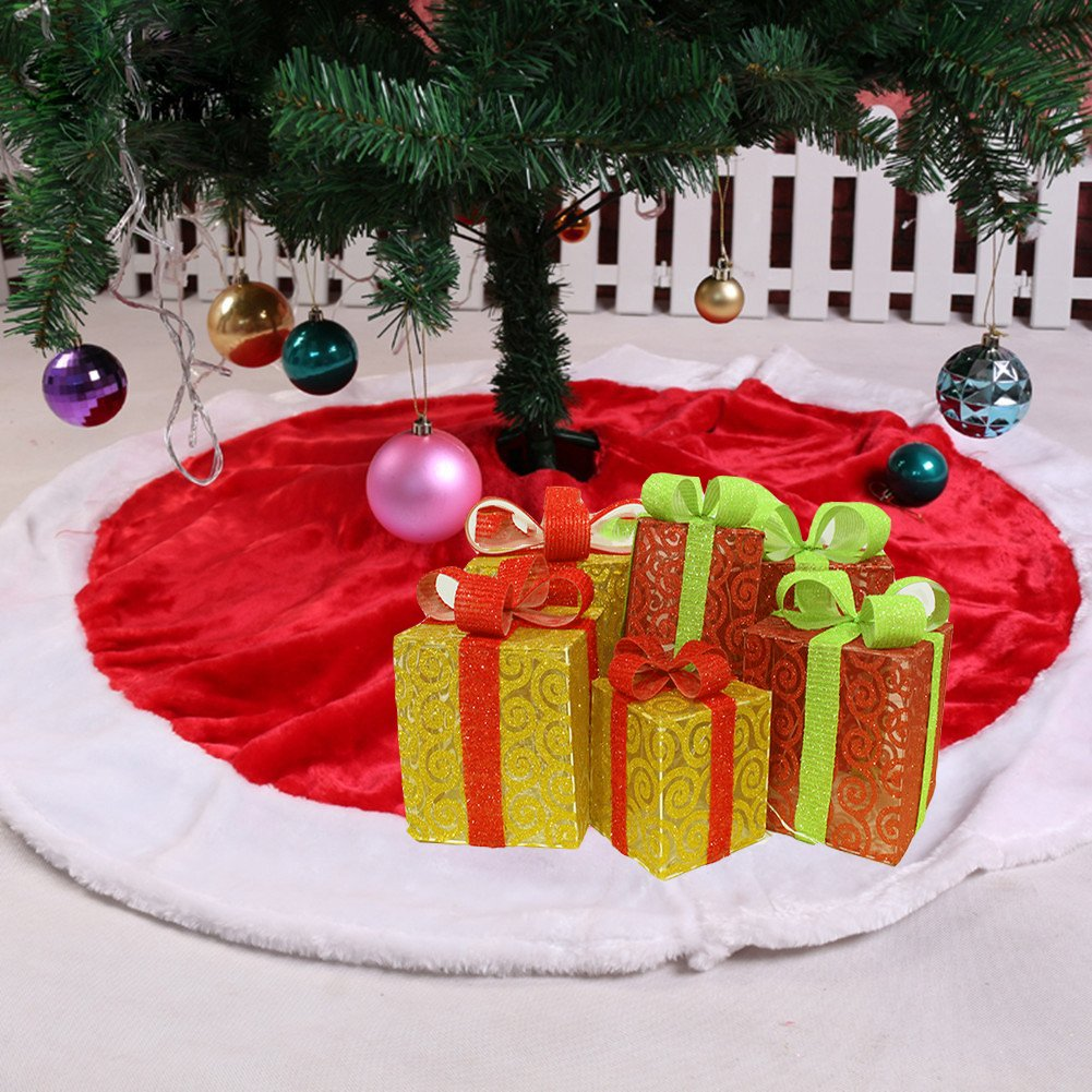 Laza 31-inch Christmas Tree Skirt Plush Flaux Fur with Round Trim for Christmas Holiday Decoration (31-inch) Lazan