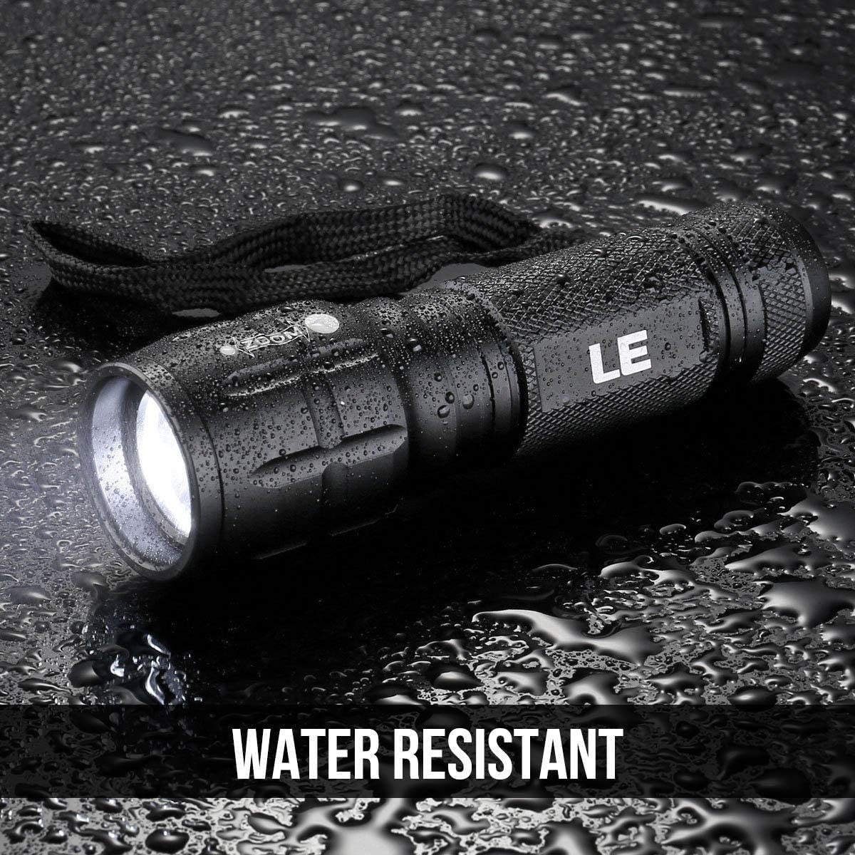 LE CREE LED Flashlight, Small and Super Bright LED Tactical Torch, Handheld Flash Light, Zoomable, Water Resistant, Adjustable Brightness for Camping, Running, AAA Batteries Included - Basic Handheld Flashlights -