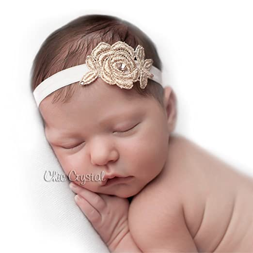Amazon.com  Beautiful Baby Girls Headband in Rose Gold 0-3months (0 ... edc14267e60