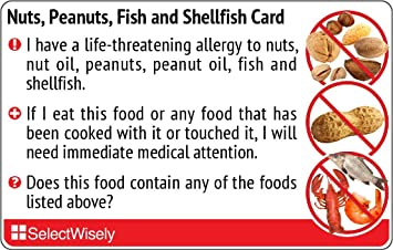 Amazon nuts peanuts fish and shellfish allergy translation nuts peanuts fish and shellfish allergy translation card translated in arabic or any forumfinder Image collections