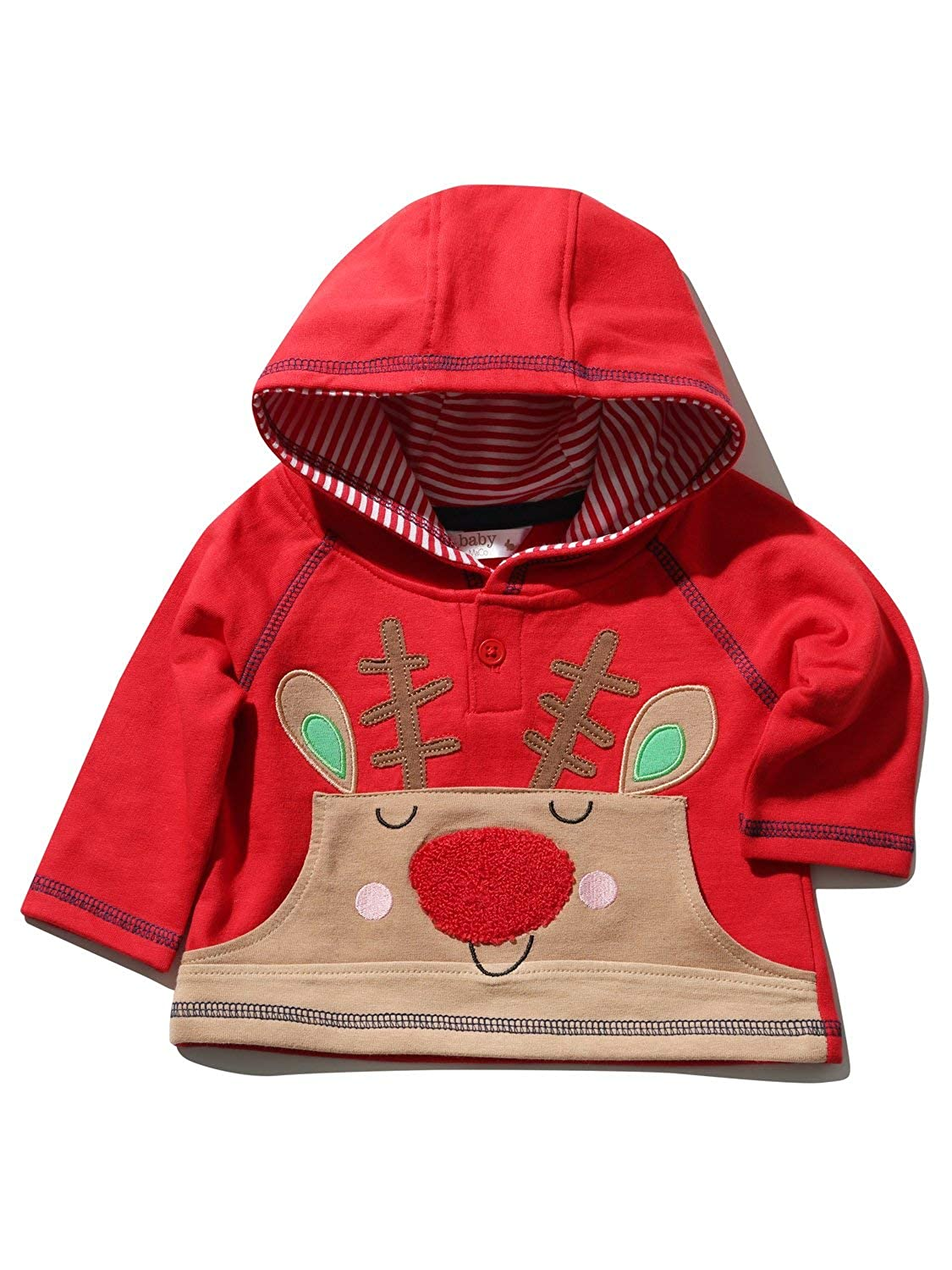 M&Co Baby Red Long Sleeve Rudolph Reindeer Front Pocket Hooded Festive Christmas Jumper