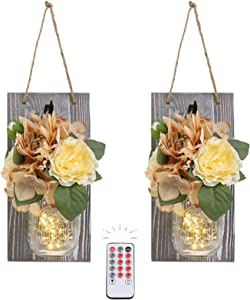 HOMKO Wall Sconces Mason Jar Lights Decorative Rustic Hanging Design with Remote Control LED Fairy Lights and Flowers Farmhouse Kitchen Decorations Home Decor Living Room Lights Set of Two (Grey)