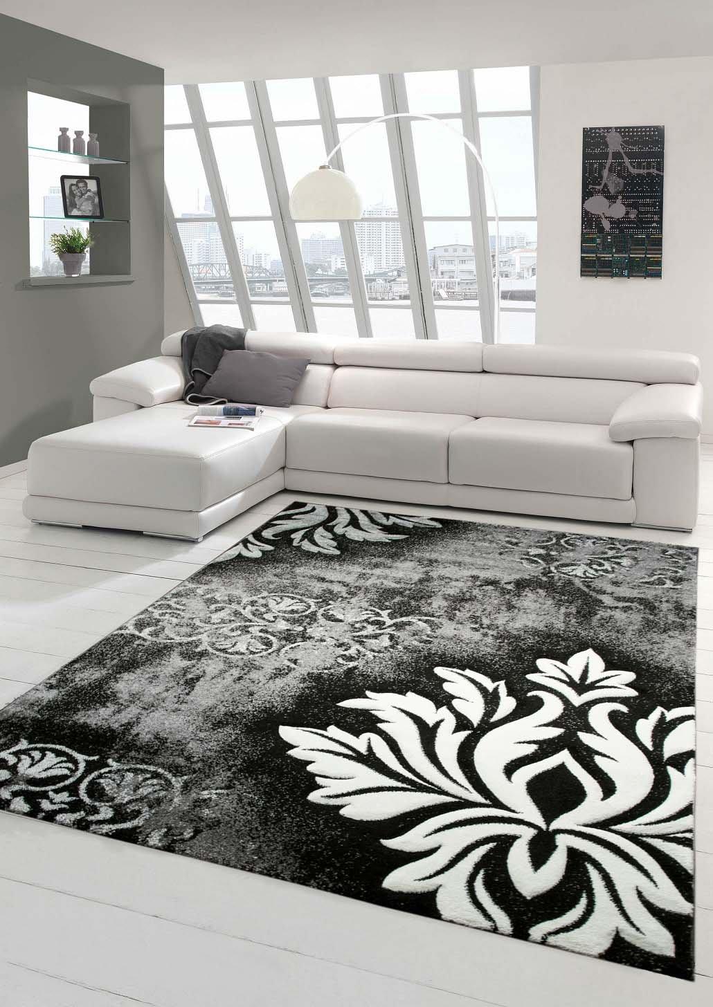 Designer Teppich Moderner Teppich Wohnzimmer Teppich Kurzflor Teppich mit Konturenschnitt und Karo Muster Grau Weiß Schwarz Größe 160x230 cm