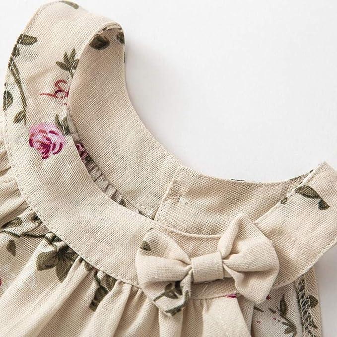 ZODOF Vestido de Ni/ñas Reci/én Nacido Beb/é Bowknot Vestido de Princesa Floral Conjuntos de Vestido de Tirantes Ropa Vestido de Playa Verano 2020