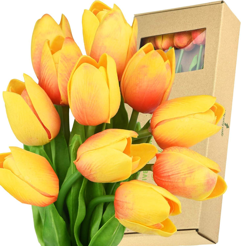 FiveSeasonStuff Tulips Artificial Flowers | Real Touch | Wedding Bouquet Home Décor Party | Floral Arrangements | 15 Stems (Sunset Orange)