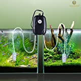 Rhinox Aquarium Air Pump set --- With 2 Air stones, 2 hose - Powers 2 Tanks - Fish Tank Aerator with Regulating Valves - Fresh & Pure Air with Efficient, Practical, High-performing Aeration Pump