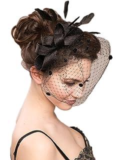 vimans Women s Bowknot Feather Detachable Cocktail Party Veil Fascinator  Hair Clip Hat 3d40bb86b4c