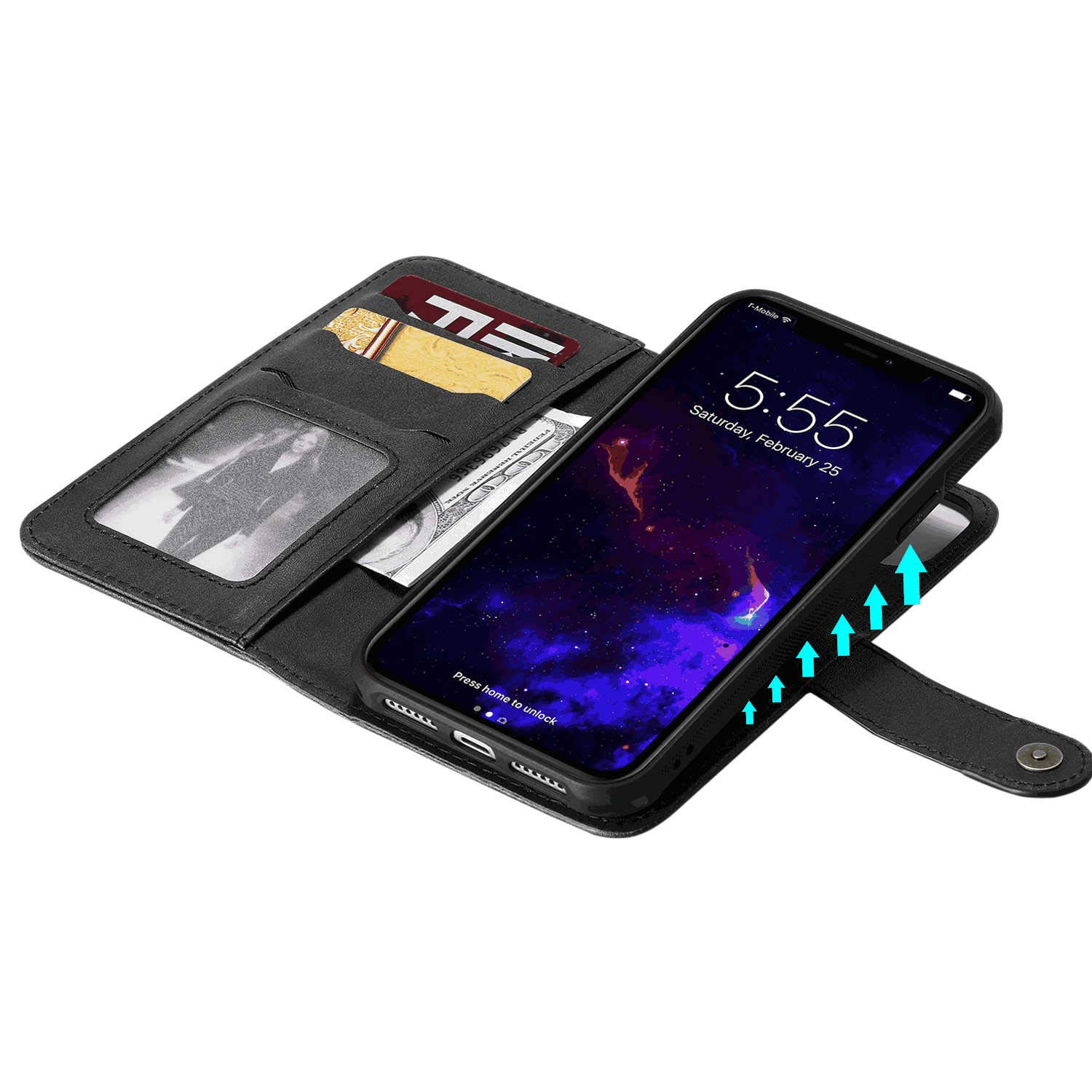 Cover for Samsung Galaxy S10 Plus Leather Card Holders Extra-Durable Business Kickstand Wallet case with Free Waterproof-Bag Samsung Galaxy S10 Plus Flip Case