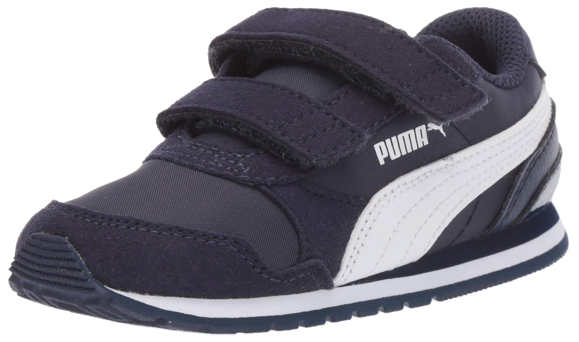 PUMA Unisex ST Runner Velcro Sneaker Peacoat White, 12 M US Little Kid