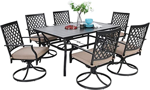 MF Dining Set 144 Pieces Metal Patio Furniture Set, 144 x Swivel Chairs with 14  Rectangular Umbrella Table for Outdoor Lawn Garden Black