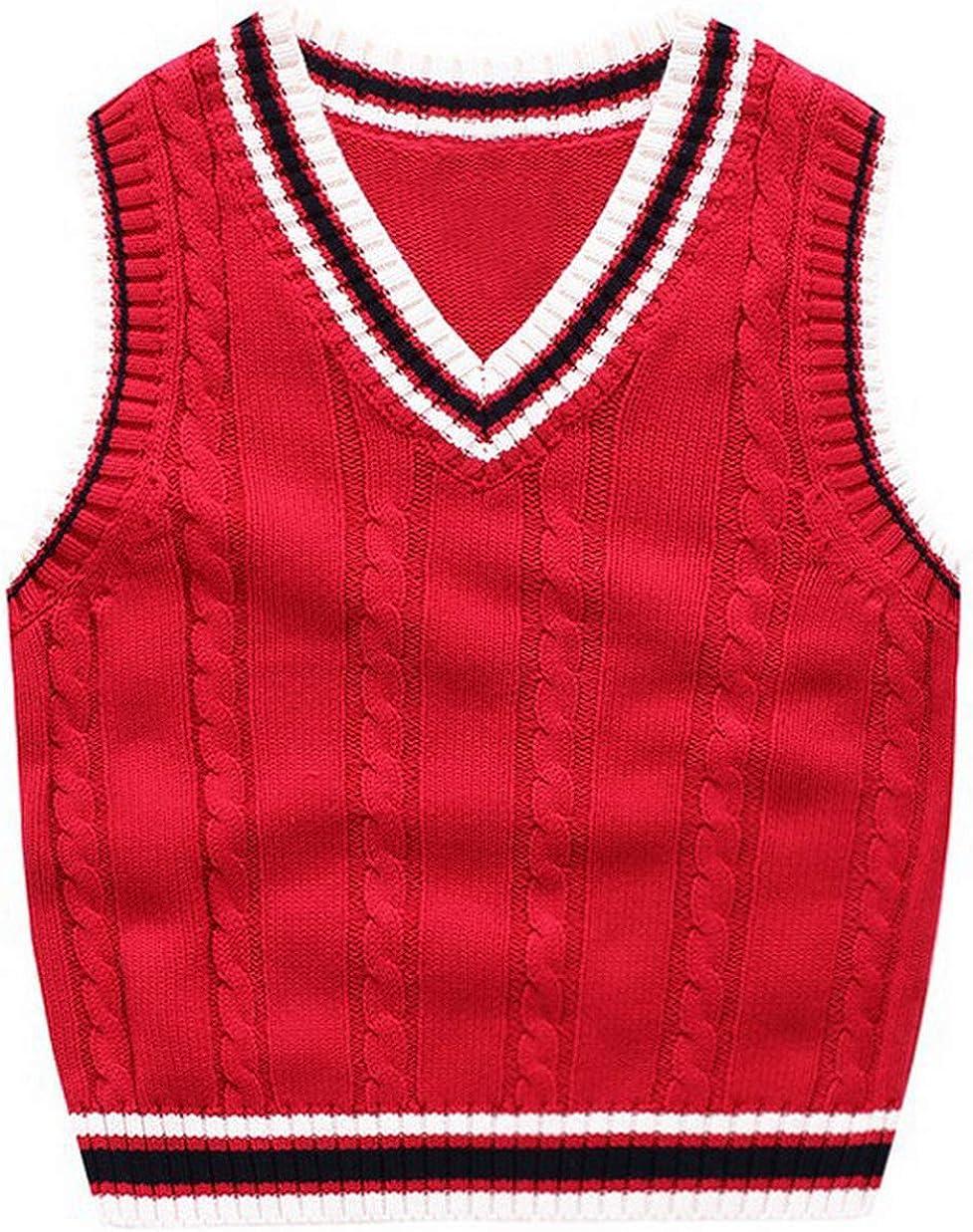 GEMVIE Kids Boys Girls V Neck Vest Knit Tops Solid Color Casual Pullover Sleeveless Sweater School Uniform Knit Waistcoat
