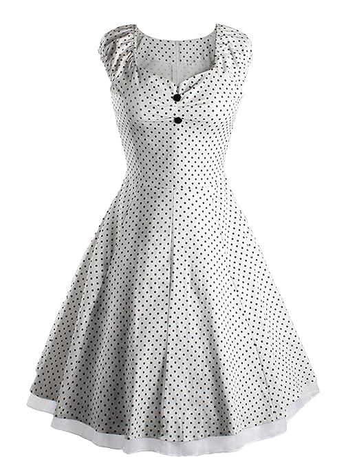 Wenseny Mujer Vestidos Retro Vintage Lunares Dobladillo de Encaje Cóctel Vestido