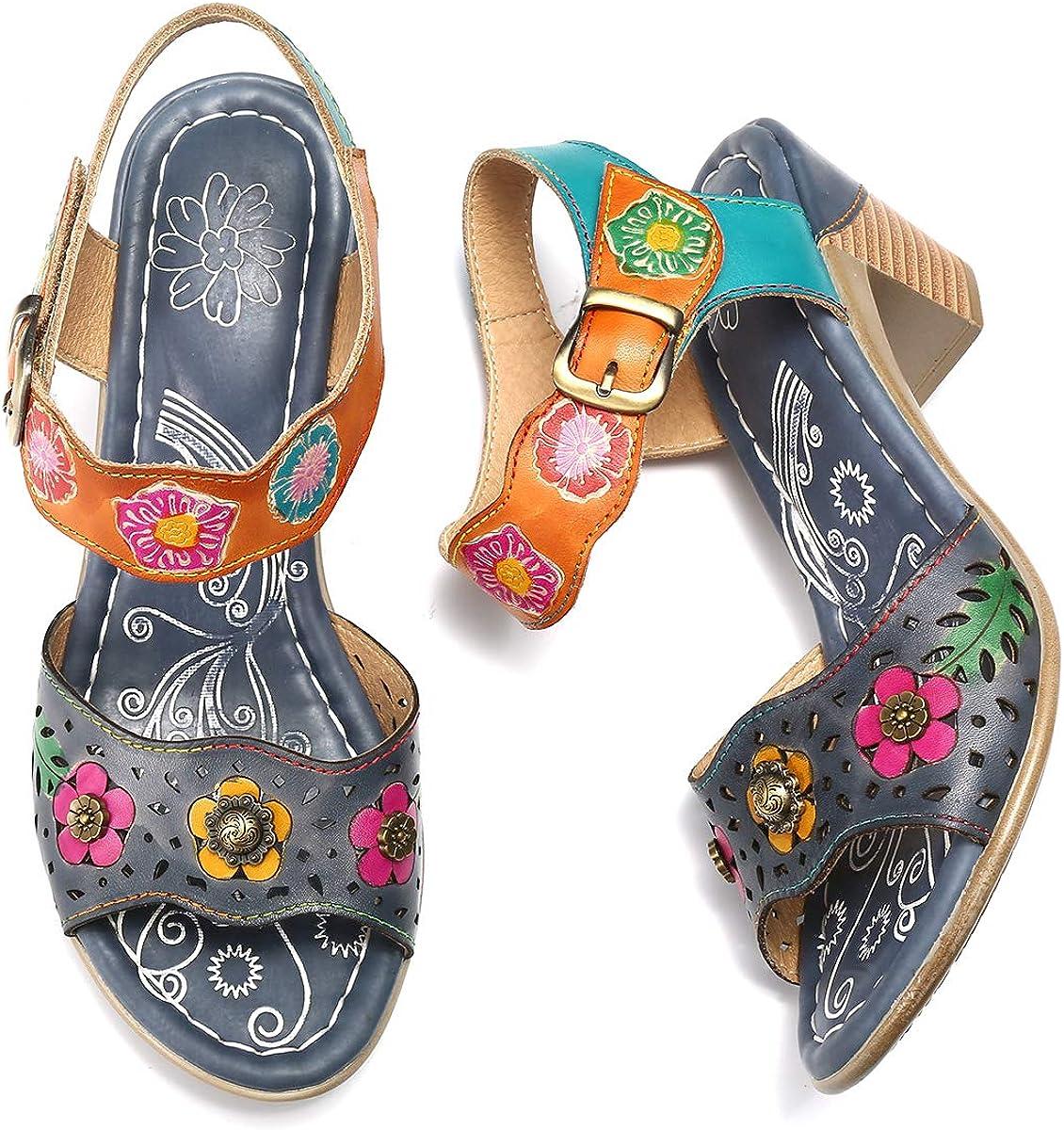 gracosy Sandalias Cuero Verano Mujer Estilo Bohemia Zapatos de Tac/ón Medio para Mujer de Dedo Sandalias Talla Grande 37-42 Chanclas Romanas de Mujer Caf/é Naranja Hecho a Mano Los Zapatos 2019