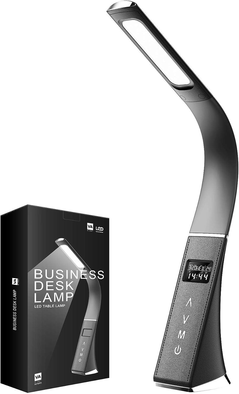 ERAY Lámpara LED Escritorio Regulable, Lámpara de Mesa Protección de ojos para Lectura, LCD Pantalla/Reloj/Despertador/Temperatura/Calendario/ 3 Modos de Colores/ 5 Niveles de Brillo (Negro)