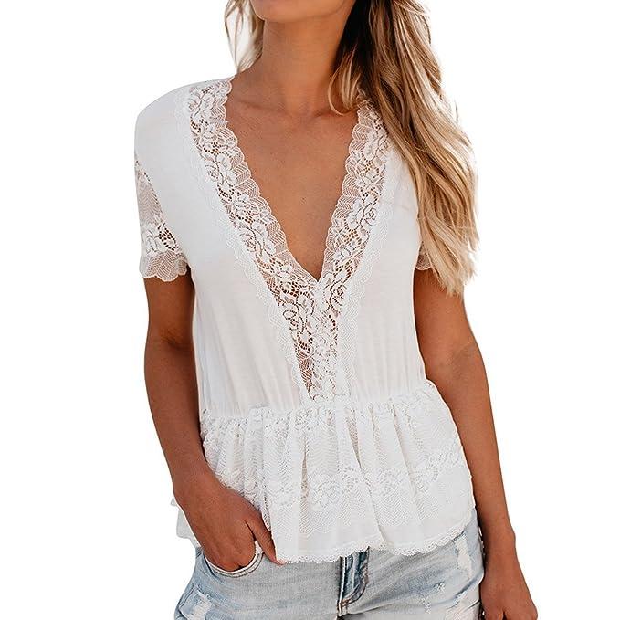 Camisa Mujer Blusas Camisetas Encaje con Cuello en V con Volantes Camisa de Manga Corta Blanca Sexy Encaje Verano Suelto Casual Top de Oficina Blusa Moda ...