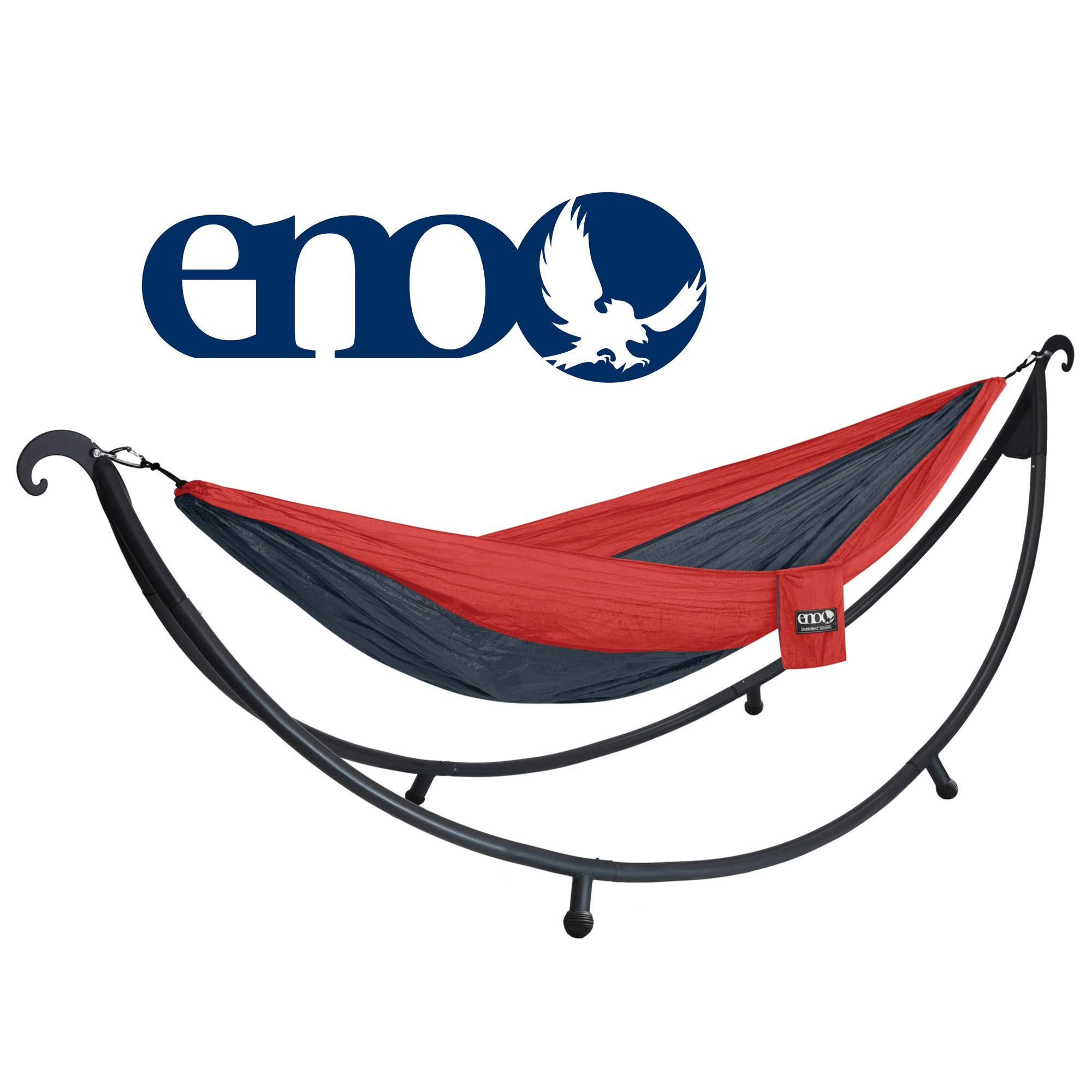 Eagles Nest Outfitters ENO DoubleNest 2-Person Hammock with SoloPod Hammock Stand Bundle, Red/Charcoal