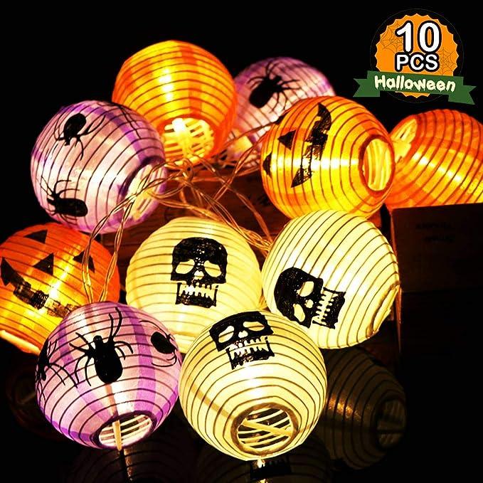 OurWarm Halloween String Lights Fari LED a batteria, 10 luci miste staccabili di zucca con teschio di ragno per decorazioni di Halloween, 8,2 piedi