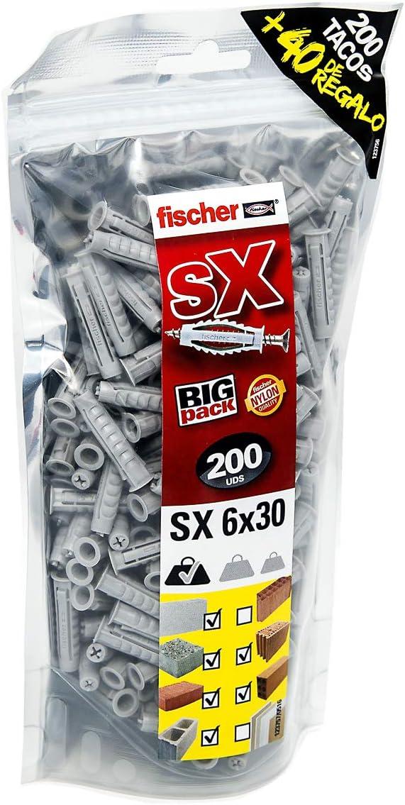 fischer 519332 SX 6x30 tacos pared, colgar cuadros, fijar lámparas, Big Pack de 240 uds, Gris