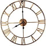 Brief Vintage Clock European Retro Handmade Iron 3D Decorative Wall Clock Roman Numerals Design (copper