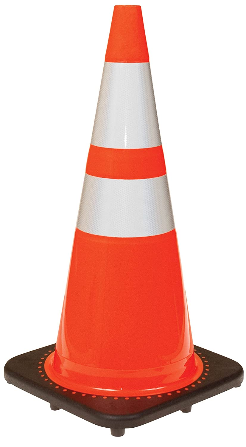 JBC High-Visibility Orange Traffic Cones with 3M Reflective Collars 28-inch