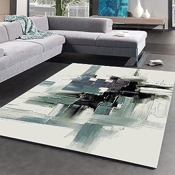 Unamourdetapis Tapis Salon Moderne et Abstrait Belo 3 Noir, Bleu ...