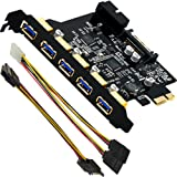 Mailiya PCI-E to USB 3.0 5-Port PCI Express Expansion Card and 15-Pin Power Connector, Mini PCI-E USB 3.0 Hub Controller Adapter with Internal 20-Pin Connector - Expand Another Two USB 3.0 Ports