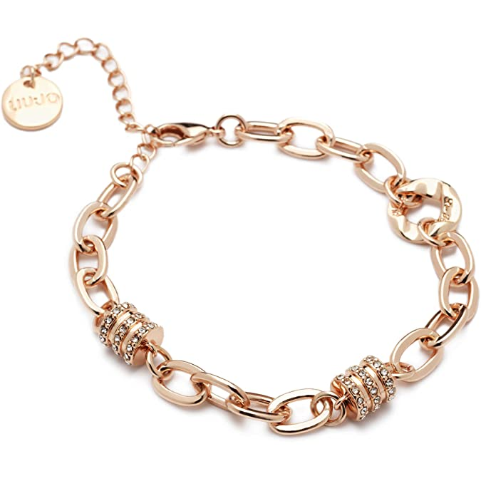 b1bd3b98d1c84 Liu Jo Bracciale Donna dolceamara con ciondolo in ottone placcato oro con  zirconi