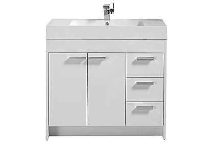 36 inch white bathroom vanities 24 inch eviva evvn900836wh lugano 36 inch modern bathroom vanity with integrated acrylic sink