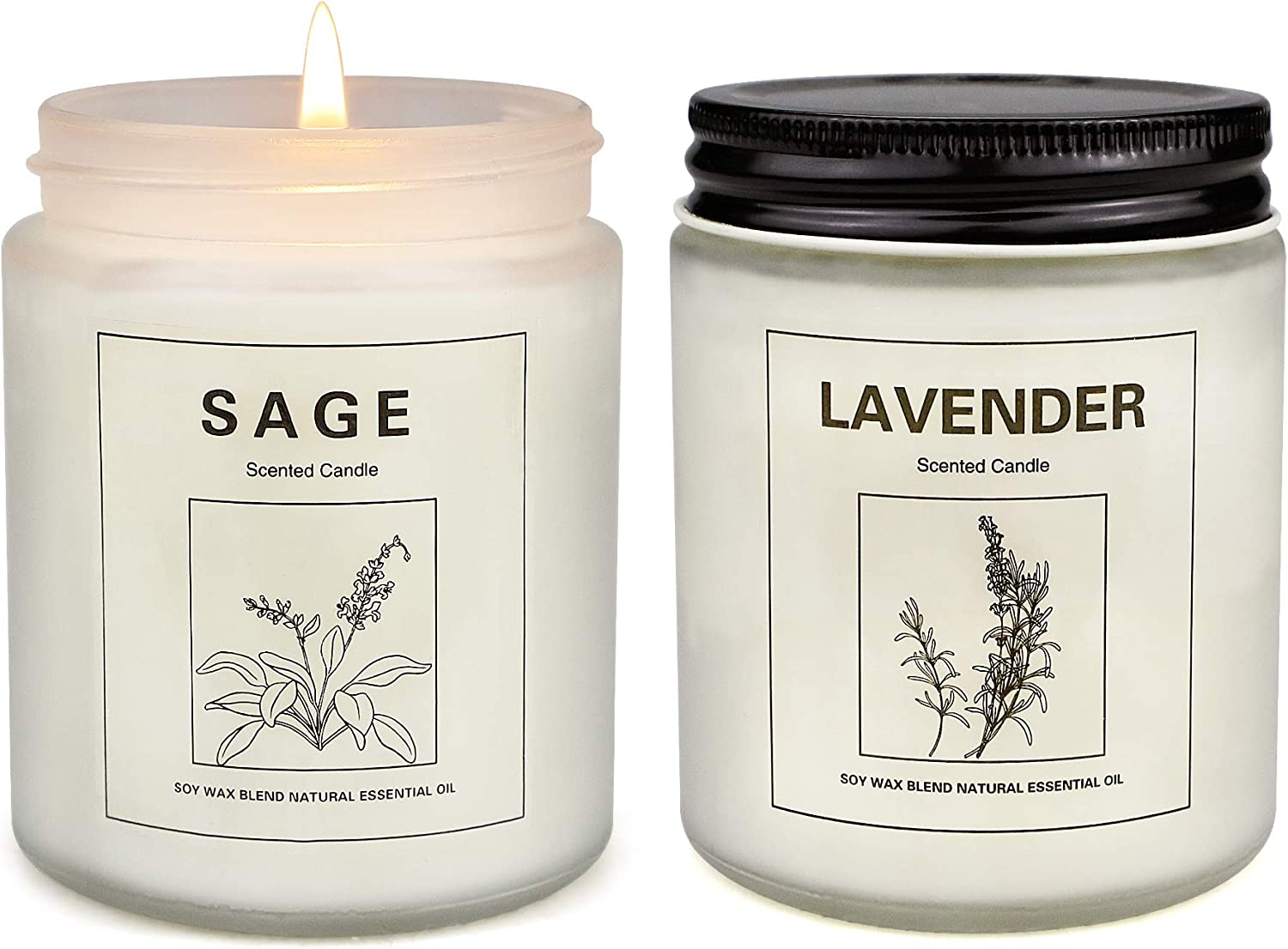 Sage Candles for Home Scented, Aromatherapy Lavender Candle, Soy Wax Candle Set 2 Pack, Women Mother's Day Gift with Strongly Fragrance Jar Candles
