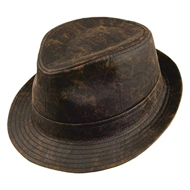 Amazon.com  Jaxon Hats Weathered Cotton Fedora Hat (Brown ed7b0ac3c9f