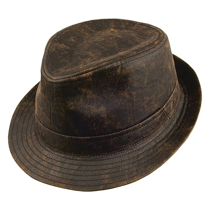 Amazon.com  Jaxon Hats Weathered Cotton Fedora Hat (Brown ed7b0ac3c9f