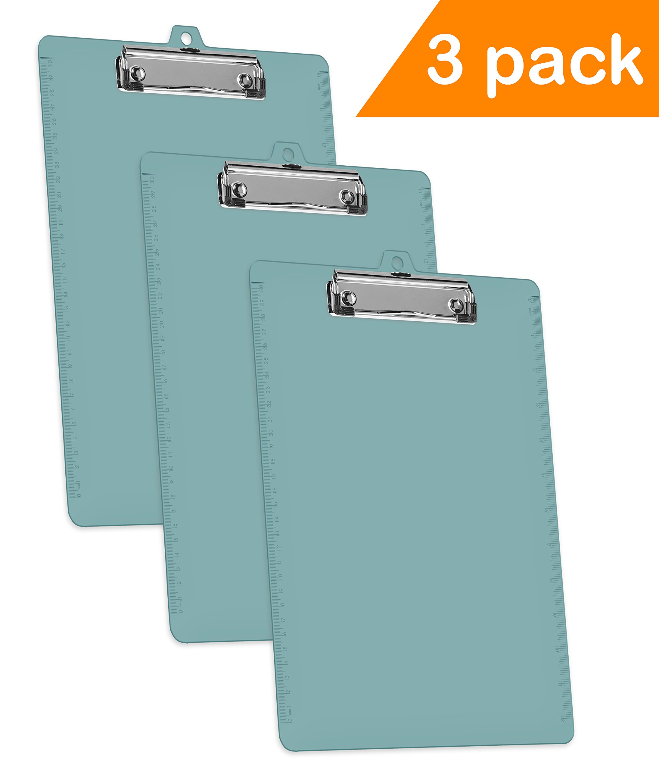 Acrimet Clipboard Low Profile Clip Letter Size (Solid Green Color) (3 Pack)