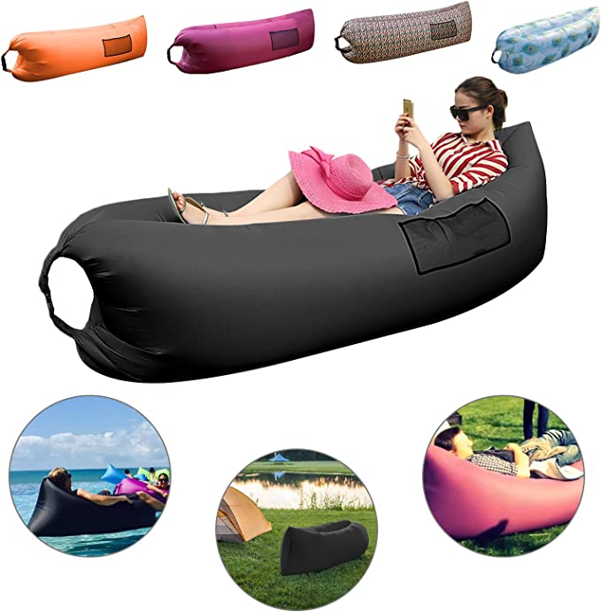 Elipax Inflatable Lounger for Indoors or Outdoors, Back-Rest Air Sofa with Portable Carrying Bag Perfect for Camping, Hiking, Travelling, Picnic and ...