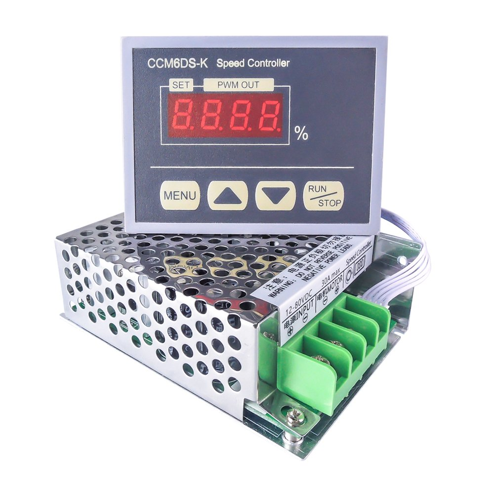 uniquegoods 12-80V PWM 30A DC Motor Speed Controller Governor With Digital Display Panel Button Switch,Slow Star Slow Stop, Variable Stepless Speed Control Regulator HHO Driver Module