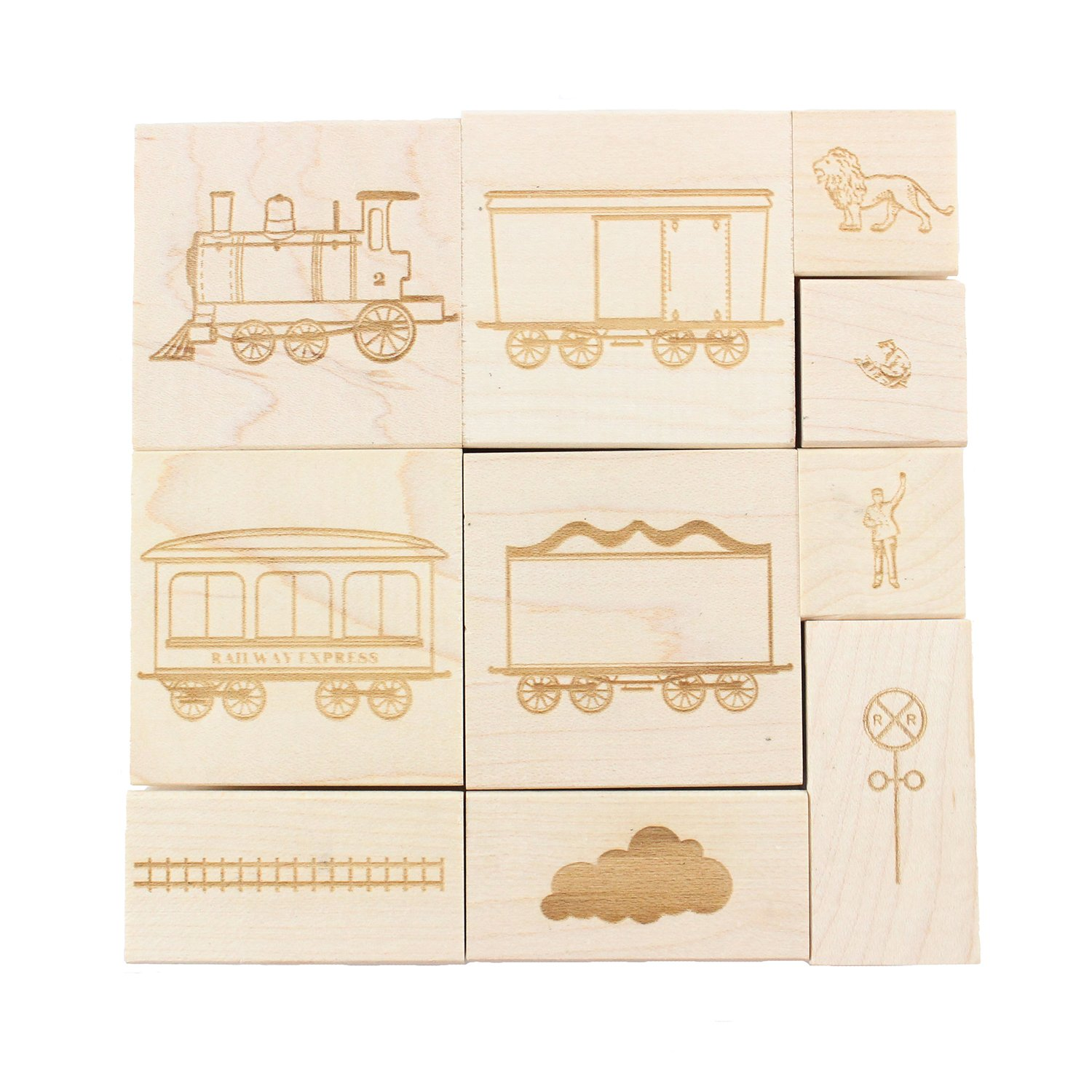 Trains - Engraved Wood Rubber Stamp Set - 10 Pieces