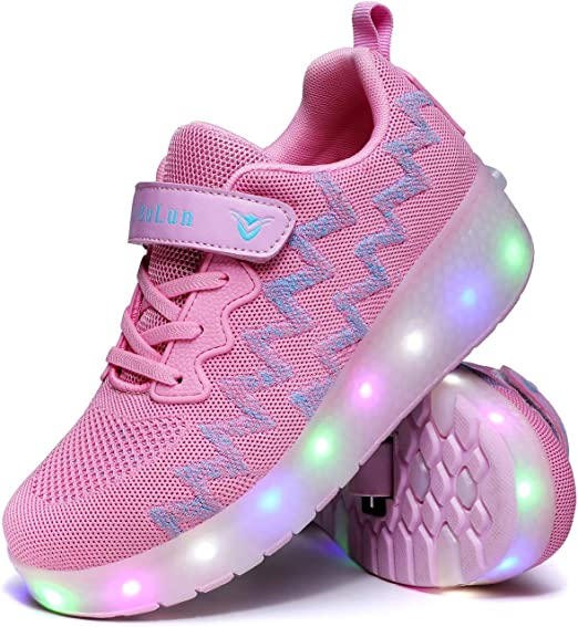DSZZ Health LED Light Up Roller Skates Shoes USB Charging