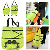 Dealpeak Lightweight Portable Foldable Dot Print Traveling Shopping Trolley Cart Handbag with Wheels (Green with White Dots)