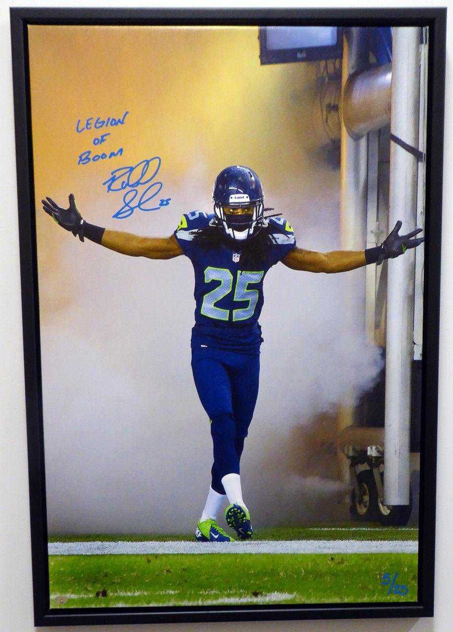 Richard Sherman Autographed Framed 20x30 Canvas Photo Seahawks RS Holo 126069 Autographed NFL Art