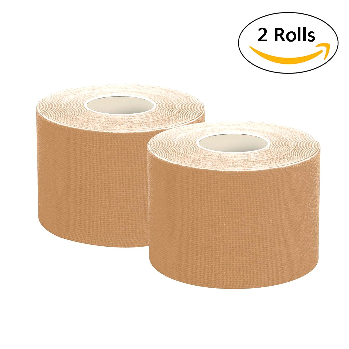 Kinesiology Tape Muscle Support Adhesive Tape 2 Rolls Pack Elastic Therapeutic Sports Tape for Knee Wrist Shoulder Elbow,Waterproof,Breathable,2''*2'' per Poll (Skin)