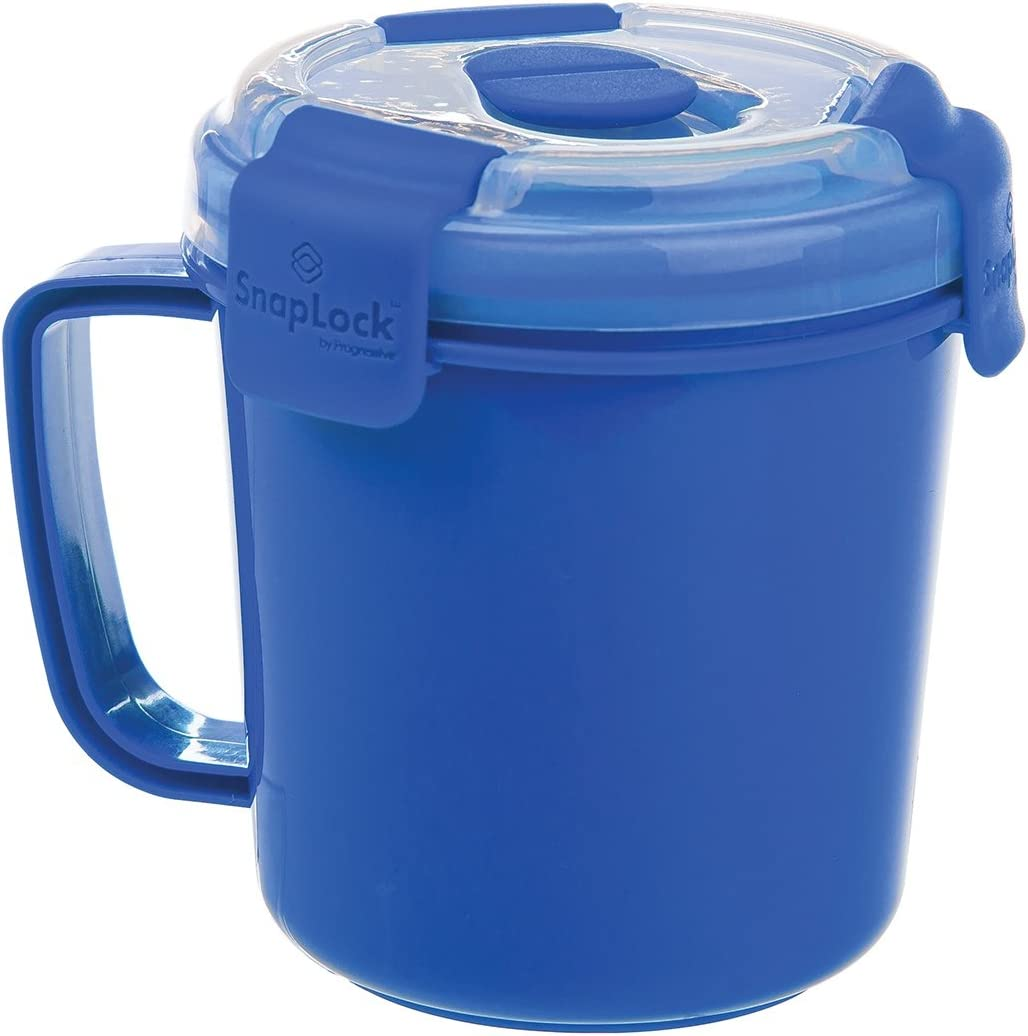 SnapLock by Progressive Soup To-Go Container - Blue, SNL-1003B Easy-To-Open, Cool Touch Handle Leak-Proof Silicone Seal, Snap-Off Lid, Stackable, BPA FREE