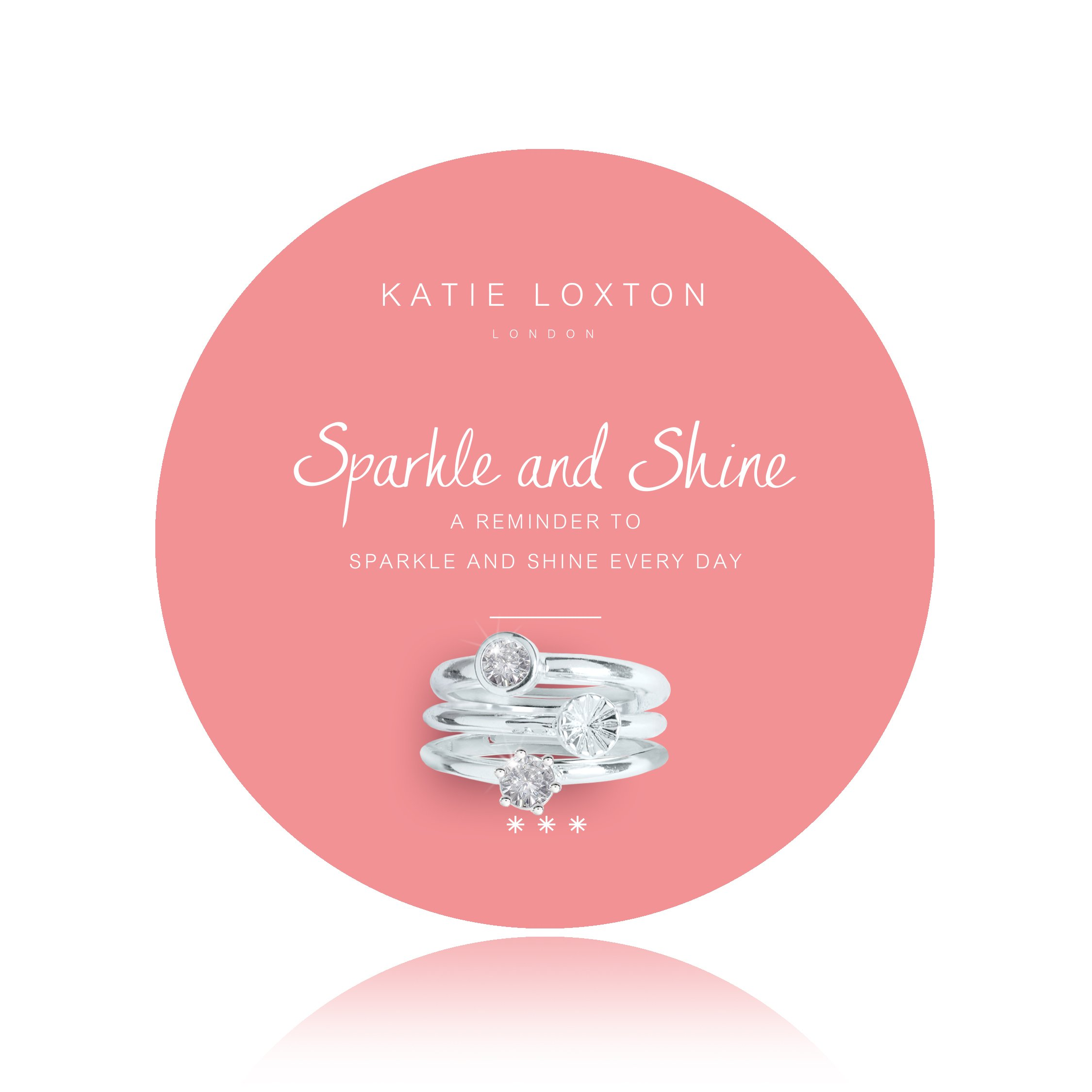 Katie Loxton Summer Sparkle - Sparkle and Shine - Silver Round and Bezel Crystals Rings on a Round Card